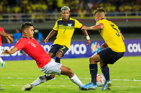 PEREIRA, COLOMBIA - JANUARY 18: Chile's Nicolas Guerra, (L) fights for the ball  against Ecuador's Jordy Alcivar during their CONMEBOL Preolimpico soccer game at the Hernan Ramirez Villegas Stadium on January 18, 2020 in Pereira, Colombia. (Photo by Daniel Munoz/VIEW press/Getty Images)