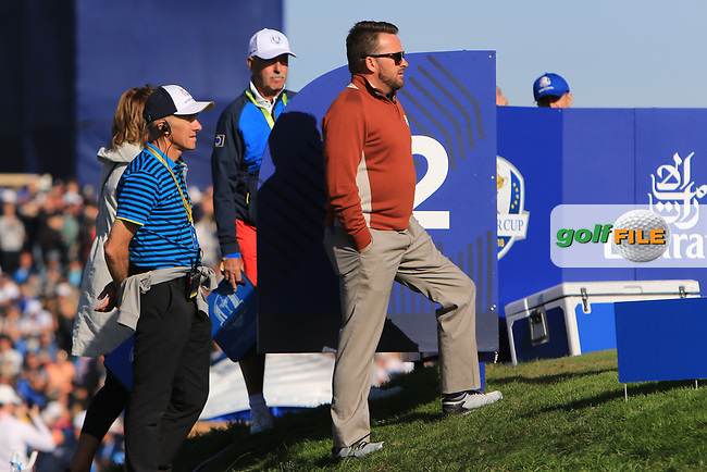 Graeme McDowell (Vice-Captain Team Europe) at the 12th tee during Saturday Foursomes at the Ryder Cup, Le Golf National, Ile-de-France, France. 29/09/2018.<br /> Picture Thos Caffrey / Golffile.ie<br /> <br /> All photo usage must carry mandatory copyright credit (© Golffile   Thos Caffrey)