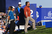 Graeme McDowell (Vice-Captain Team Europe) at the 12th tee during Saturday Foursomes at the Ryder Cup, Le Golf National, Ile-de-France, France. 29/09/2018.<br /> Picture Thos Caffrey / Golffile.ie<br /> <br /> All photo usage must carry mandatory copyright credit (&copy; Golffile | Thos Caffrey)