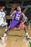 Stephen F. Austin Lumberjacks guard Desmond Haymon (25) in action during the game between the Stephen F. Austin Lumberjacks and the North Texas Mean Green at the Super Pit arena in Denton, Texas. SFA defeats UNT 87 to 53.