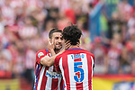Gabriel Fernandez Arenas, Gabi, (L)  of Atletico de Madrid  reacts with Tiago Cardoso Mendes (R) of Atletico de Madrid  during their La Liga match between Atletico de Madrid vs Athletic de Bilbao at the Estadio Vicente Calderon on 21 May 2017 in Madrid, Spain. Photo by Diego Gonzalez Souto / Power Sport Images