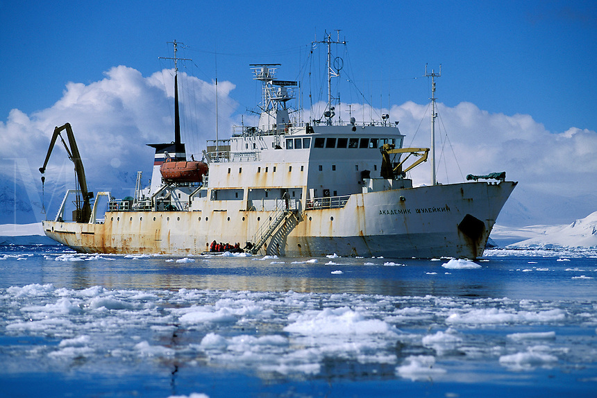 Akademik Shuleykin, cruise ship in the ice, Antarctica