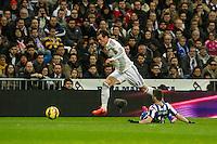 Real Madrid´s Gareth Bale and Deportivo de la Coruna's Luisinho during 2014-15 La Liga match between Real Madrid and Deportivo de la Coruna at Santiago Bernabeu stadium in Madrid, Spain. February 14, 2015. (ALTERPHOTOS/Luis Fernandez) /NORTEphoto.com