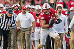Wisconsin Badgers tight end Troy Fumagalli (81) runs with the ball during an NCAA College Big Ten Conference football game against the Iowa Hawkeyes Saturday, November 11, 2017, in Madison, Wis. The Badgers won 38-14. (Photo by David Stluka)