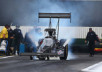 Feb 10, 2017; Pomona, CA, USA; NHRA top fuel driver Steve Faria during qualifying for the Winternationals at Auto Club Raceway at Pomona. Mandatory Credit: Mark J. Rebilas-USA TODAY Sports
