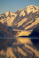 Sunrise on Surprise glacier, Harriman Fjord, Prince William Sound, Alaska.