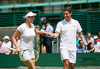 England, London, 28.06.2014. Tennis, Wimbledon, AELTC, Andreja Klepac (SLO) with her mixed double partner Jesse Huta Galung (NED)<br /> Photo: Tennisimages/Henk Koster