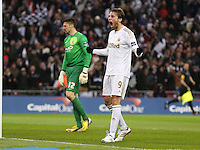 Pictured: Michu of Swansea is celebrating the goal by team mate Nathan Dyer. Sunday 24 February 2013<br />