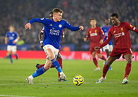 26th December 2019; King Power Stadium, Leicester, Midlands, England; English Premier League Football, Leicester City versus Liverpool; Harvey Barnes of Leicester City with the ball at his feet covered by Wijnaldum of Liverpool - Strictly Editorial Use Only. No use with unauthorized audio, video, data, fixture lists, club/league logos or 'live' services. Online in-match use limited to 120 images, no video emulation. No use in betting, games or single club/league/player publications