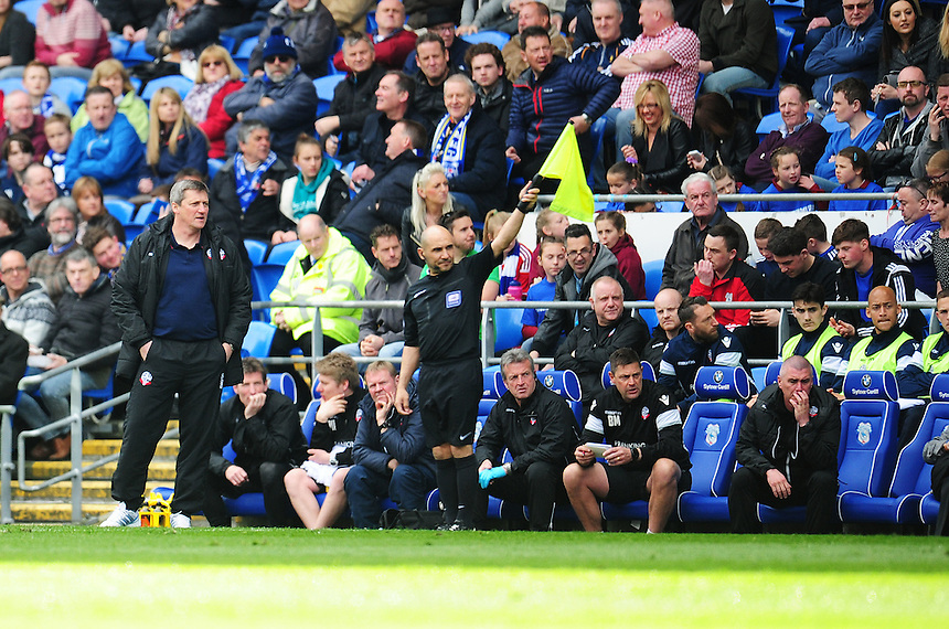 Bolton Wanderers Caretaker Manager Jimmy Phillips watches on from the touchline<br /> <br /> Photographer Kevin Barnes/CameraSport<br /> <br /> Football - The Football League Sky Bet Championship - Cardiff City v Bolton Wanderers - Saturday 23rd April 2016 - Cardiff City Stadium - Cardiff <br /> <br /> &copy; CameraSport - 43 Linden Ave. Countesthorpe. Leicester. England. LE8 5PG - Tel: +44 (0) 116 277 4147 - admin@camerasport.com - www.camerasport.com