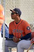 GCL Astros Rene Rojas (4) before a Gulf Coast League game against the GCL Cardinals on August 11, 2019 at Roger Dean Stadium Complex in Jupiter, Florida.  GCL Cardinals defeated the GCL Astros 2-1.  (Mike Janes/Four Seam Images)