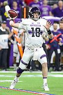 Indianapolis, IN - December 1, 2018: Northwestern Wildcats quarterback Clayton Thorson (18) throws a pass during the Big Ten championship game between Northwestern  and Ohio State at Lucas Oil Stadium in Indianapolis, IN.   (Photo by Elliott Brown/Media Images International)