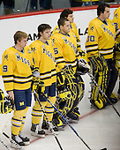 Luke Moffatt (Michigan - 9), Kevin Clare (Michigan - 4), Bryan Hogan (Michigan - 35), ?, Adam Janecyk (Michigan - 30) - The University of Minnesota-Duluth Bulldogs defeated the University of Michigan Wolverines 3-2 (OT) to win the 2011 D1 National Championship on Saturday, April 9, 2011, at the Xcel Energy Center in St. Paul, Minnesota.