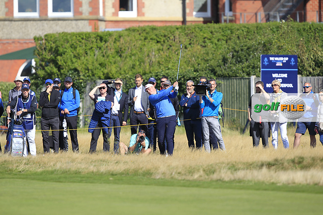 James Sugrue (GB&I) on the 1st during Day 1 Singles of the Walker Cup at Royal Liverpool Golf CLub, Hoylake, Cheshire, England. 07/09/2019.<br /> Picture: Thos Caffrey / Golffile.ie<br /> <br /> All photo usage must carry mandatory copyright credit (© Golffile | Thos Caffrey)
