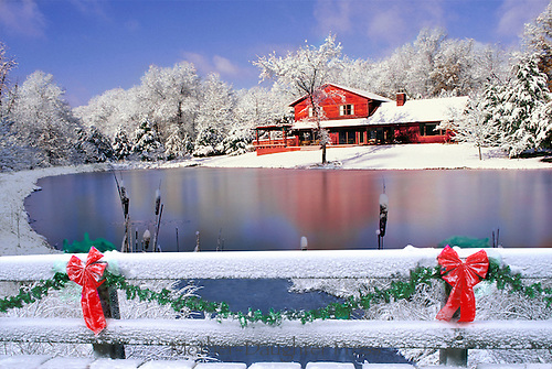 Red house by iced pond at Christmas