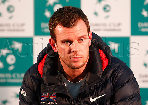 04.03.2016. Barclaycard Arena, Birmingham, England. Davis Cup Tennis World Group First Round. Great Britain versus Japan. GB captain Leon Smith during his post match press conference after Dan Evans' straight sets loss to Kei Nishikori.