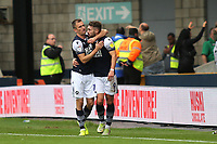 Jed Wallace celebrates scoring Millwall's opening goal from the penalty spot with Tom Bradshaw during Millwall vs Leeds United, Sky Bet EFL Championship Football at The Den on 5th October 2019