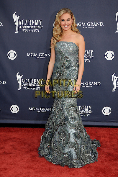 LAURA BELL BUNDY .46th Annual Academy of Country Music Awards - Arrivals held at the MGM Grand Garden Arena, Las Vegas, Nevada, USA, 3rd April 2011..full length strapless long maxi grey gray  beaded dress .CAP/ADM/BP.©Byron Purvis/AdMedia/Capital Pictures.