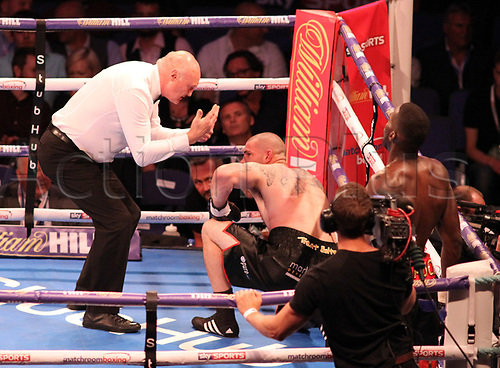 July 1st 2017, O2 Arena, London, England; Summertime Brawl; British Light-Heavyweight Championship; Frank Buglioni versus Ricky Summers; undercard fight Lawrence Okolie and Russell Henshaw. Russell Henshaw receives eight count after knockdown.