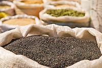 Sack of sesame seeds in Chinese market, Shanghai