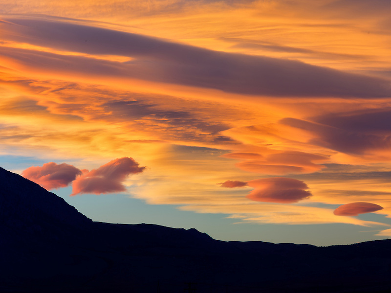 Lenticular cloud at sunset. Near Bishop, Clifornia