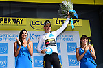 Wout Van Aert (BEL) Team Jumbo-Visma retains the young riders White Jersey at the end of Stage 3 of the 2019 Tour de France running 215km from Binche, Belgium to Epernay, France. 8th July 2019.<br /> Picture: ASO/Alex Broadway | Cyclefile<br /> All photos usage must carry mandatory copyright credit (© Cyclefile | ASO/Alex Broadway)