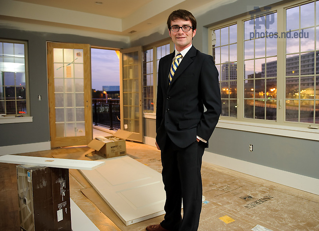 Oct. 23, 2011; Architecture graduate student Dave Matthews stands in his future home at East Bank Townhomes...for Notre Dame Magazine..Photo by Matt Cashore/University of Notre Dame