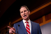 United States Senator Ron Wyden (Democrat of Oregon) discusses saving pre-existing condition protections in the health care system during a press conference on Capitol Hill in Washington D.C., U.S. on July 31, 2019.<br /> <br /> Credit: Stefani Reynolds / CNP/AdMedia