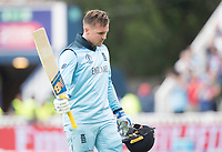 A disappointed Jason Roy (England) leaves the field following his dismissal during Australia vs England, ICC World Cup Semi-Final Cricket at Edgbaston Stadium on 11th July 2019