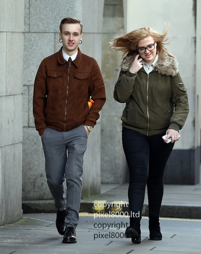 Pic shows:  Charlie Alliston cyclist accused over death of pedestrian  Arriving at Old Bailey for the start of his trial today 6.3.17<br /> <br /> Seen here with his blonde girlfriend Julie Rose Hilmi and another woman, presumably a family member, possibly his mother, far right.<br /> <br /> <br /> Charlie Alliston, 19, is charged with causing bodily harm to mother-of-two Kim Briggs, 44, in Old Street, east London, on in feb 2016.<br /> <br /> <br /> <br /> <br /> <br /> <br /> <br /> Pic by Gavin Rodgers/Pixel 8000 Ltd