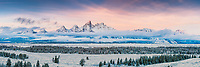 Winter Sunrise Panorama, Teton Range, Grand Teton National Park, Jackson Hole, Wyoming.<br />