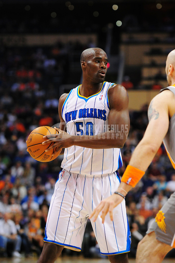 Mar. 25, 2011; Phoenix, AZ, USA; New Orleans Hornets center (50) Emeka Okafor against the Phoenix Suns at the US Airways Center. The Hornets defeated the Suns 106-100. Mandatory Credit: Mark J. Rebilas-