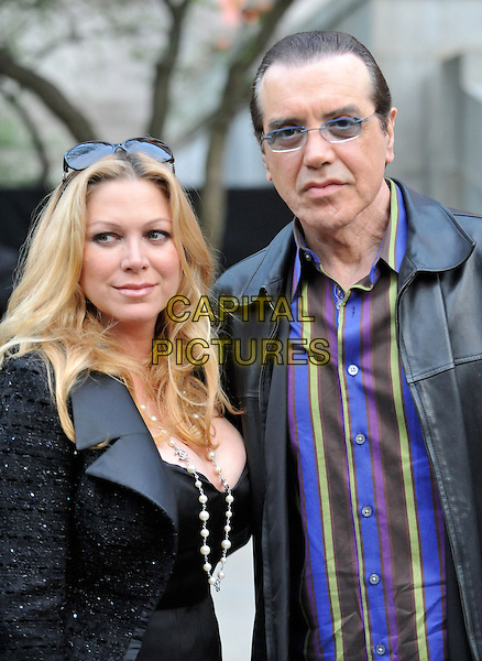 GIANNA RANAUDO & CHAZZ PALMINTERI.9th Annual Tribeca Film Festival - Vanity Fair Party held at at New York State Supreme Court, New York, NY, USA, .20th April 2010..half length black leather jacket purple striped shirt .CAP/ADM/BM.©Bill Menzel/AdMedia/Capital Pictures.
