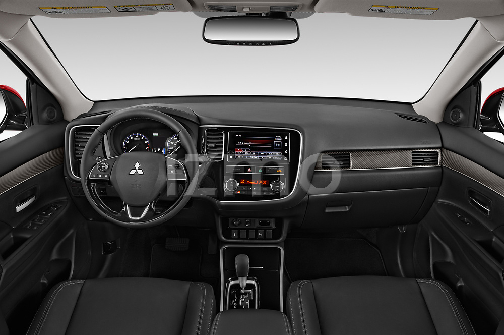 Stock photo of straight dashboard view of a 2019 Mitsubishi Outlander SEL 5 Door SUV