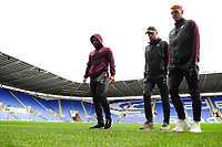 (L-R) Cameron Carter-Vickers, Oli McBurnie and Jay Fulton of Swansea City arrive for the Sky Bet Championship match between Reading and Swansea City at the Madejski Stadium in Reading, England, UK. Tuesday 01 January 2019