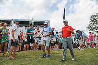 Jon Rahm (ESP) makes his way to the 16th green after his approach shot from the gallery during Sunday's final round of the PGA Championship at the Quail Hollow Club in Charlotte, North Carolina. 8/13/2017.<br /> Picture: Golffile | Ken Murray<br /> <br /> <br /> All photo usage must carry mandatory copyright credit (&copy; Golffile | Ken Murray)