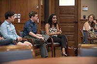 The McKinnon Center for Global Affairs brings the Kahane UN Week to Occidental College, featuring exhibits and guests with a global perspective.<br /> Oxy students who participated in the Kahane United Nations Program (Oxy at the UN) have a panel discussion about their involvement with Sustainable Development Goals in their internships and courses. They discussed interning at an agency or mission to the United Nations, academic courses and living in New York City for the fall 2015 semester. Feb. 17, 2016 in Dumke Commons.<br /> (Photo by Marc Campos, Occidental College Photographer)