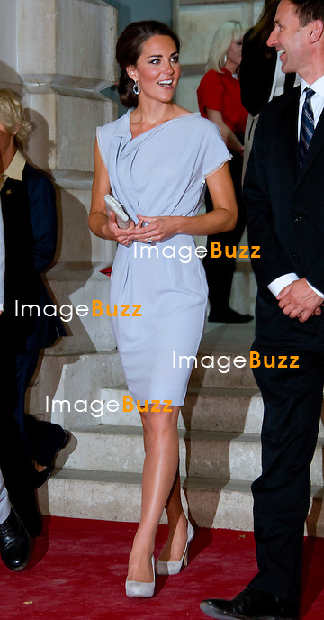 CATHERINE, DUCHESS OF CAMBRIDGE.attends The UK's Creative Industries Reception at the Royal Academy of Arts, as part of The British Government's GREAT campaign, London. The Duchess chose an outfit by Roksanda Iiincic for the occasion..London, July 30, 2012.