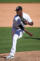 Glendale Desert Dogs pitcher Robinson Leyer (73) delivers a pitch during an Arizona Fall League game against the Surprise Saguaros on October 24, 2015 at Camelback Ranch in Glendale, Arizona.  Surprise defeated Glendale 18-3.  (Mike Janes/Four Seam Images)