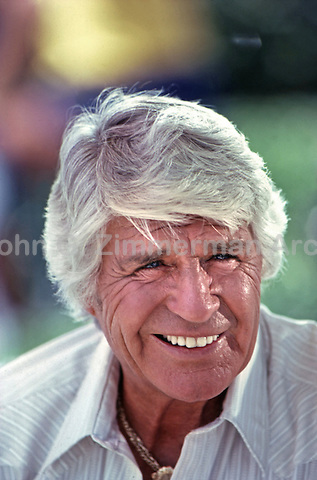 "Jim Davis as Jock Ewing on set of ""Dallas,"" 1980."