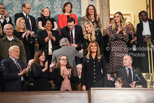 FEBRUARY 5, 2019 - WASHINGTON, DC: First Lady Melania Trump in the First Lady's box ahead of the State of the Union address, with Vice President Mike Pence and Speaker of the House Nancy Pelosi, at the Capitol in Washington, DC on February 5, 2019. <br /> Credit: Doug Mills / Pool, via CNP