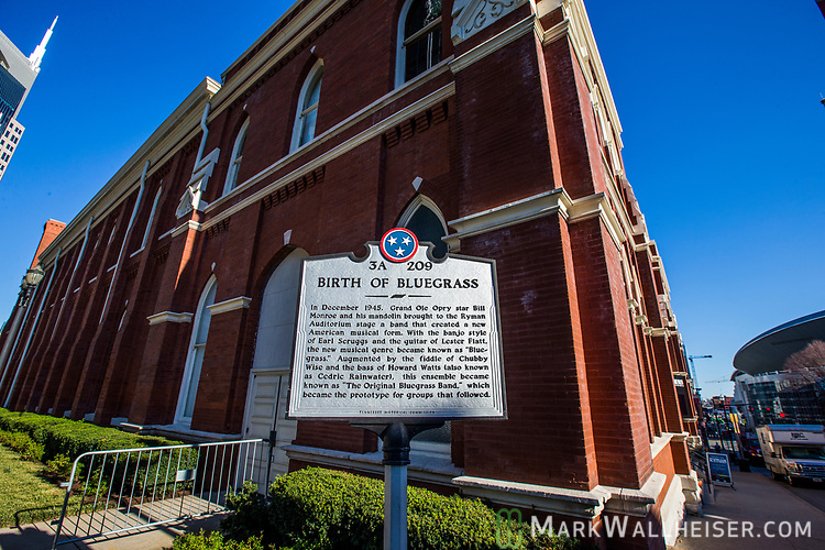 The Ryman Auditorium sits a half block off lower Broadway in Nashville, Tennessee