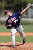 Minnesota Twins Ryan O'Rourke #57 during a minor league spring training intrasquad game at the Lee County Sports Complex on March 25, 2012 in Fort Myers, Florida.  (Mike Janes/Four Seam Images)