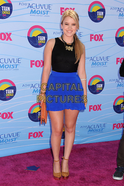 Taylor Spreitler.FOX's 2012 Teen Choice Awards held at The Gibson Ampitheatre in Universal City, California, USA..July 22nd, 2012.full length black blue top skirt beige shoes clutch bag pink.CAP/ADM/BP.©Byron Purvis/AdMedia/Capital Pictures.