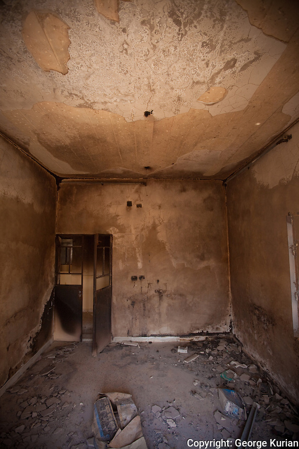 The inside of a law office. FSA claim that the syrian regime is using phosphorus to gut buildings.