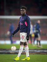 Bukayo Saka of Arsenal pre match during the UEFA Europa League match between Arsenal and Qarabag FK at the Emirates Stadium, London, England on 13 December 2018. Photo by Andy Rowland.