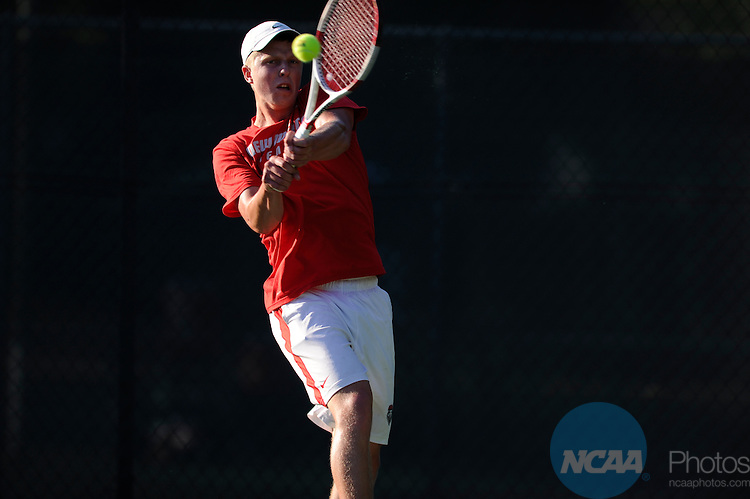 26 APR 2014:  The University of New Mexico takes on San Diego State University during the 2014 Mountain West Conference Men's Tennis Championship held at the Sierra Racquet and Sports Club in Fresno, CA.  Justin Tafoya/NCAA Photos