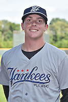 Pulaski Yankees pitcher Drew Finely (27) before a game against the Greeneville Astros on July 11, 2015 in Greeneville, Tennessee. The Yankees defeated the Astros 9-3. (Tony Farlow/Four Seam Images)