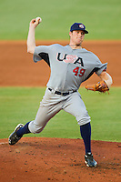 Starting pitcher Eric Anderson #49 (Missouri) of the USA Baseball Collegiate National Team in action against the USA 18u National Team at the USA Baseball National Training Center on July 2, 2011 in Cary, North Carolina.  The College National Team defeated the 18u team 8-1.  Brian Westerholt / Four Seam Images