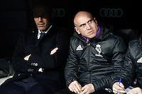 Real Madrid's coach Zinedine Zidane with his second David Bettoni (r) during La Liga match. March 1,2017. (ALTERPHOTOS/Acero) /NORTEPHOTOmex